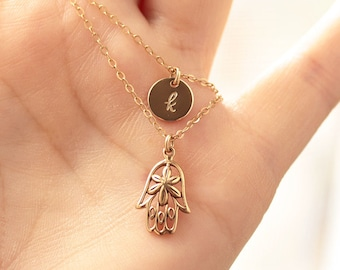 Layered Necklace Set, Double Strand Initial Necklace, Layering Necklaces, Hamsa Necklace, Personalized Necklace, Gold Filled, Yoga Jewelry