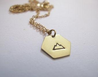 Golden Mountain Necklace // 14k Gold Custom Necklace // Inspirational Jewelry // Power, Strength // Climber, Mountain // Hexagon Necklace