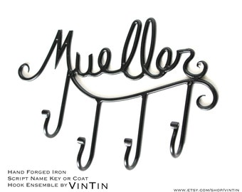 Hand Forged Iron Name (Script) with Hooks by VinTin (Item# W-810)