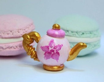 sales 1/12TH scale Shabby chic Miniature pink and gold teapot for your dollhouse