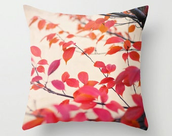 Pillow Case - Cerise - Red Orange Leaves - Nature Home Decor - Blue - Pillow Cover  - Fine Art Pillow - 18x18