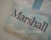 Monogrammed Towel with hood for Baby or Toddler - Blue Grey Gray White Lattice Print Limited Edition