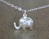 Adorable Sterling Elephant Necklace - simple minimalist jewelry