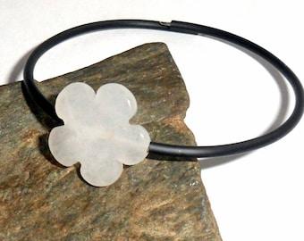 Beach Bracelet White Jade Flower Gemstone Energy Bounce Adjustable earthegy