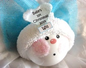 1st First Christmas Angel Ornament Color Choice Blue Pink Townsend Custom Gifts Handmade Name Tag Sample - F