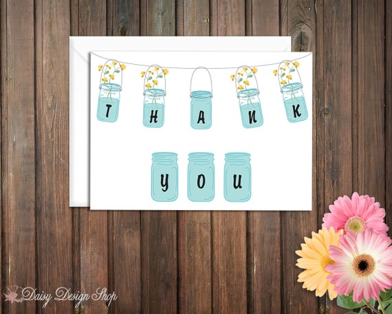 Thank You Cards - Mason Jars with Wildflowers - Set of 10 with Envelopes