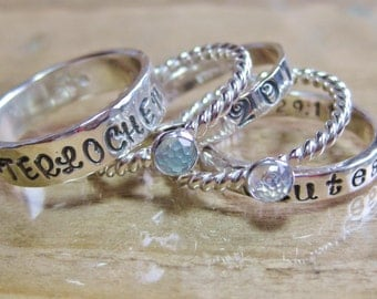 Stacking School Ring Set 3 Personalized Bands 2 Gemstone Rings Sterling Silver 24 Genuine Gemstone Choices & Multiple Font and Band Options