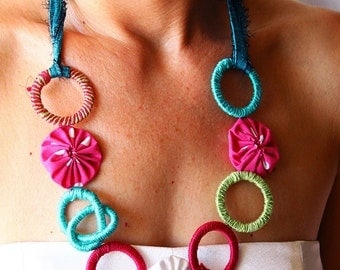 Colorful fabric necklace, funky necklace with colorful circles and polka dots, geometric jewelry, fiber art necklace, one of a kind