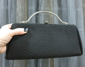 """Vintage Slim Slick Black Lace Evening Bag Clutch by """"METRO"""" - Made in USA - ideal for Christmas, New Year Party - Graceful, Elegant, OOAK"""
