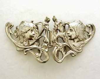 Gorgeous vintage French art nouveau belt buckle Boy and Girl