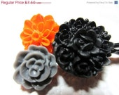 CLOSING SALE Bobby Pins Halloween Flowers Black Gray Orange Set of 3