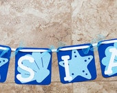 Beach Party Ocean seashell 6 characters and 4 shells- navy light blue- for Baby Shower or Birthday Party
