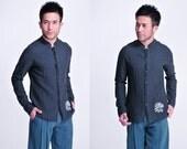 Ash-Features/ Qi Lin Embroidery Men's linen Shirt/ Reglan sleeve/ peek-a boo buttons/ 7 Colors / RAMIES