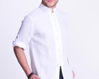 Moonstone's Lustrer /  Chinese Style Linen Men's Shirt with 3/4 Sleeves/  Versatile Sleeve/ 12 Colors