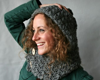 Hooded Cowl - Scoodie - Chunky Grey Yarn - Wooden Buttons - Vegan Hat - Hood - Cowl - 8 Colors