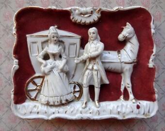 SALE Renaissance Carriage Courtship Couple, Sculpted Bas Relief Velvet Wall Plaques, Set of 2, Japan