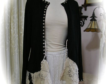Black Bohemian Cardigan, doily sweater tattered crocheted doilies, plus size womens XL LARGE