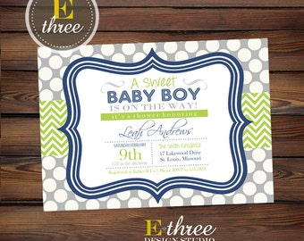 Navy Blue and Green Boy's Baby Shower Invitation - Baby Boy Shower Invitations - Chevron and Polka Dots - Sweet Baby Boy