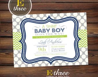 Printable Boys Baby Shower Invitation - Navy and Lime Green Chevron Baby Shower Invites - Baby Boy Shower