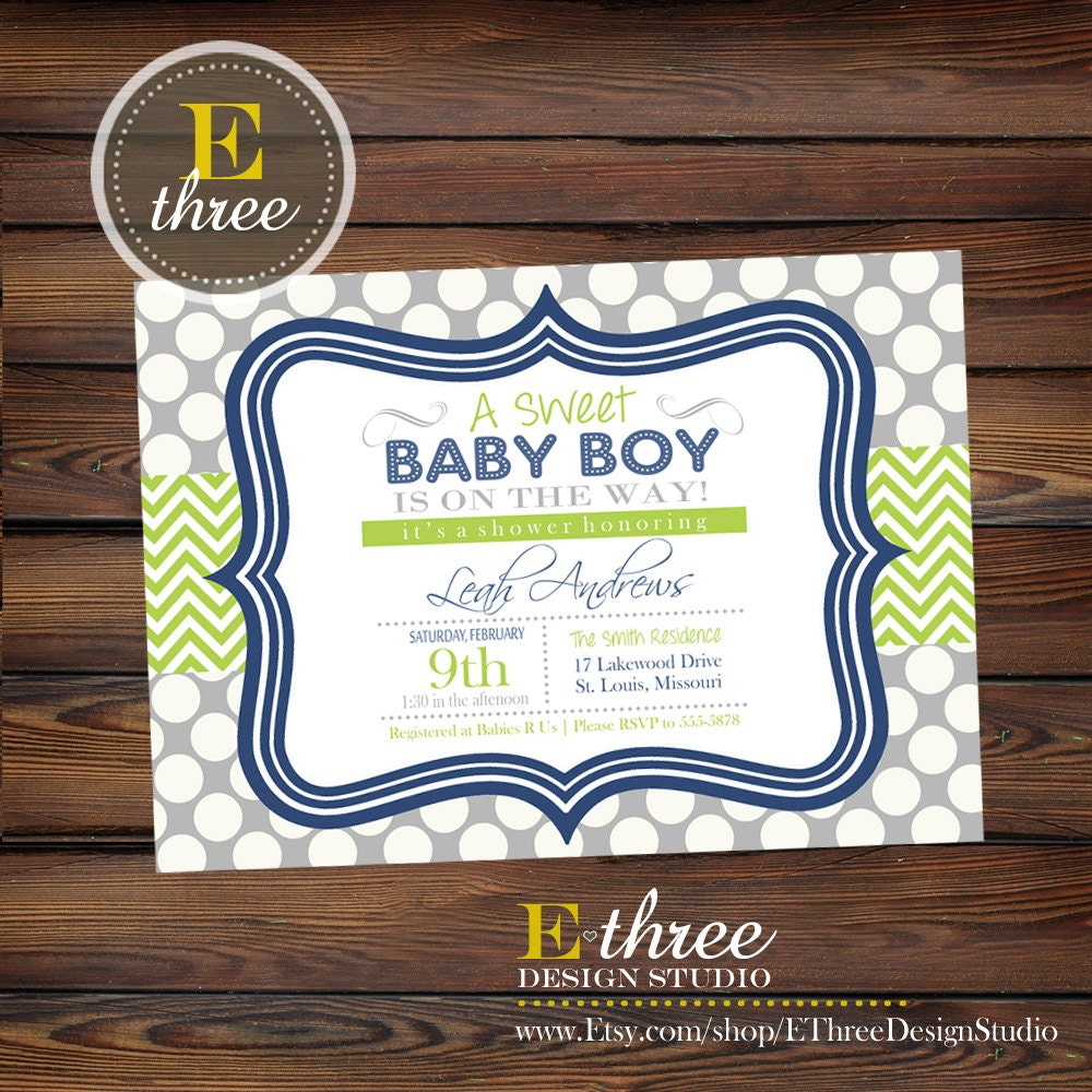 navy blue and green boy 39 s baby shower invitation baby