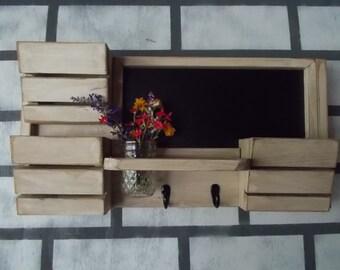 Family Message Center---3 Slot Mail Organizer--Message Board--Mason Jar Vase Holder-- Mail--Recipe Holder--  Chalk Board Center