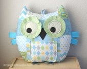 Owl Pillow, Tooth Fairy Pillow, Owl Plush Toy, Stuffed Animal, Patchwork Owl, Great Gift for Baby Boy, Blue and Yellow