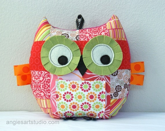 Owl Pillow, Tooth Fairy Pillow, Owl Plush Toy, Patchwork Owl, Stuffed Animal, Orange, Green and Pink