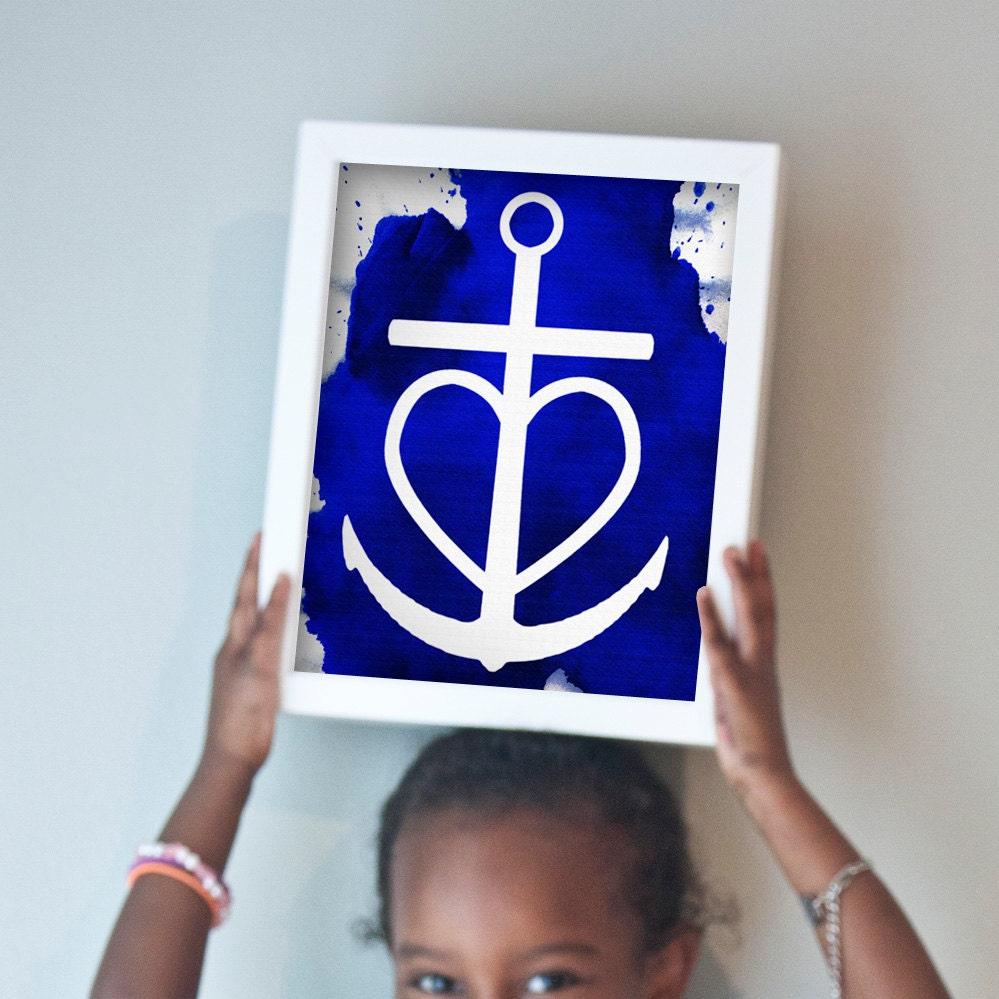 Faith Hope Love print in blue