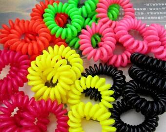 50pc Telephone Cord Hair Tie, elastic hair ties,ponytail holders,telephone line ponytail holders