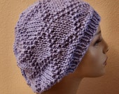 Hand Knitted Acrylic Periwinkle Lavender Diamond Brocade Stitch Slouchy Hat