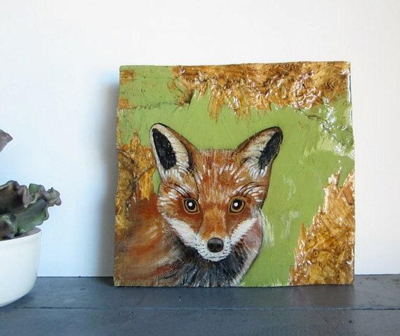 Rustic Home Decor L Red Fox 8x8 Painting L Original Art L