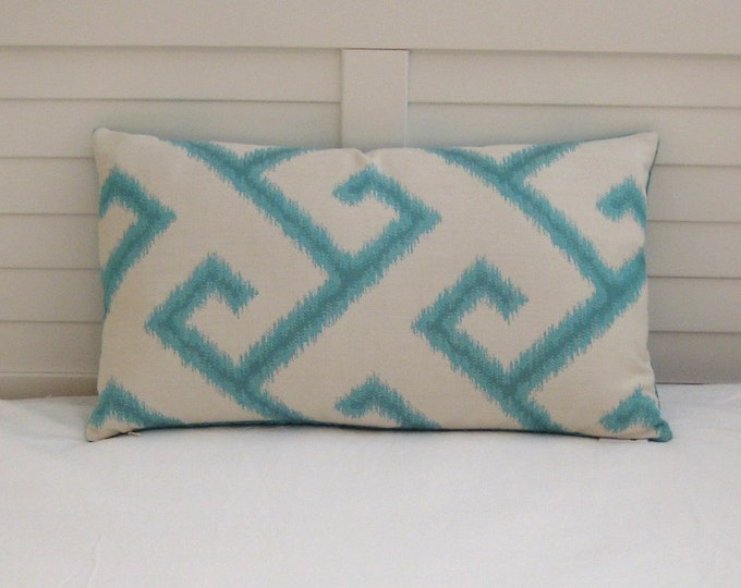HOLIDAY SALE and FREE Shipping, Sunbrella El Greco in Calypso Turquoise Greek Key Ikat Indoor Outdoor Lumbar Pillow Cover