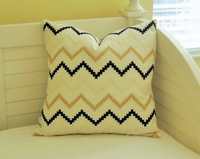 Zig Zag Design in Black, Camel and Cream Designer Pillow Cover