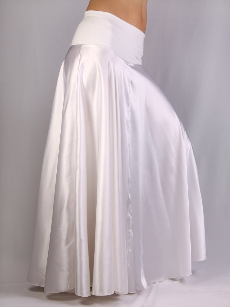 Claire Long Skirt In White Satin And White Lycra