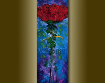 Red Roses Flower Oil Painting Textured Palette Knife Contemporary Floral Modern Original Art 12X36 by Willson