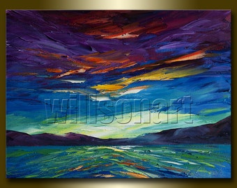 Original Sunrise over the Sea Textured Palette Knife Seascape Painting Oil on Canvas Abstract Modern Art 12X16