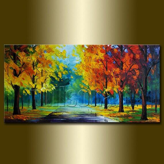 Temporadas rbol textura esp tula oto o paisaje pintura al - Como pintar un cuadro moderno ...