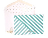Personalized Folded Cards - Diagonal Stripe with Polka Dot Lined Envelopes (10)