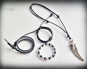 Gothic Boy -  BJD jewelry set of 4, dark bracelets and necklace, angel wing and cross, gothic look