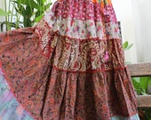 Printed Cotton Long Tiered Skirt - OM02-0914