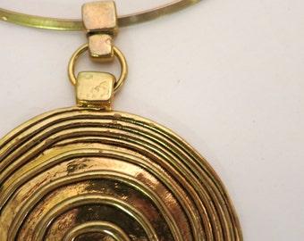 Vintage 60's Gold Tone Large Pendant Choker