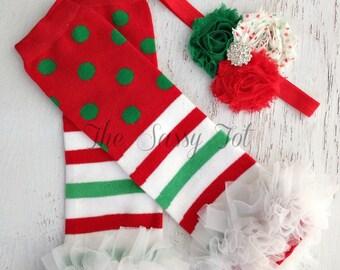 Baby Christmas Leg Warmer Set - Baby Leg Warmer Set - Headband and Legwarmers