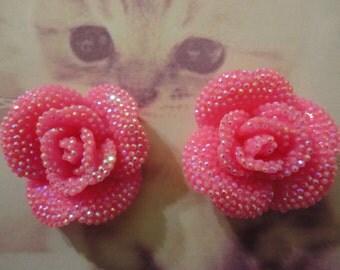 Kawaii hot pink rose with rhinestones cabochons  2 pcs---USA seller