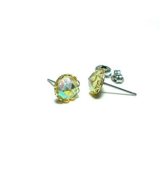 Vintage Aurora Borealis Crystal Stud Earrings, AB Glass Studs, Estate Jewelry, Crystal Studs, Dome Studs, Pointed Stud Earrings, LAST PAIR