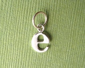 Sterling Silver Alphabet Letter e Initial Charm in Typewriter Style