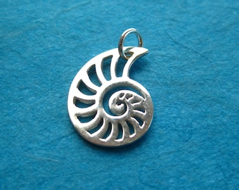 Sterling Silver  Openwork Nautilus Sea Shell Pendant Charm