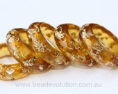 Faceted Resin Ring in Honey Brown with Gold Leaf Flakes, Various Sizes Available