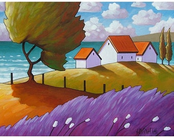 """Giclee Art Print by Cathy Horvath 5""""x7"""" Folk Windy Ocean Lavender & Trees Summer Sea Cottage Coastal Colors Landscape Reproduction Artwork"""
