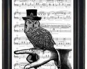 Music Page Print or Dictionary Art Print Steampunk Owl Print Wall Art  Dictionary Art Dictionary Print HHP Original Concept and Design