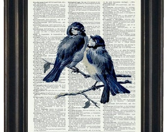 BOGO SALE Blue Bird Print Dictionary Art Print Bird Dictionary Art Print Flower Art Upcycled Wall Art Vintage Dictionary